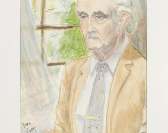 ORIGINAL painting, watercolor, elderly man, male, portrait, gift art, 18x24/mounted 22x28