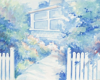 ORIGINAL painting, watercolor, signed, front gate, home, house, gift art, 18x24/mounted 22x28