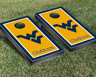 West Virginia University Mountaineers WVU Cornhole Bag Toss Game Set Border Design