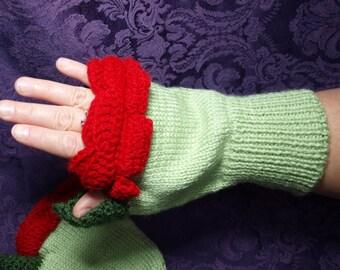 Rose Fingerless Gloves - Red Rose