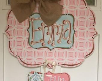Baby Girl Hospital Door Hanger, Wooden Nursery Door Hanger