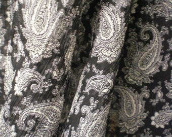3 Yards Silk Chiffon Crinkled Paisley Fabric