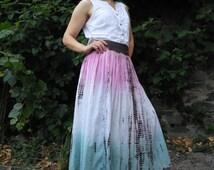 ON SALE Tie Dye Pastel Multicolor Gauze Skirt Vintage skirt Midi skirt Medium Striped Ombre skirt Boho skirt Hippie Festival skirt Lightweig