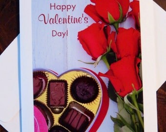 Happy Valentine's Day Roses & Chocolates. Photo Greeting/Note Card. Blank Inside.