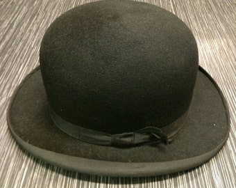 Vintage 1950's The Vellum Black 100% Wool Bowler Hat Size Small Steampunk Burlesque