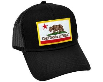 California Republic US State Flag Patch Trucker Adjustable Snap Baseball Cap Hat