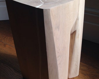 Sculpted Solid Oak Side Table