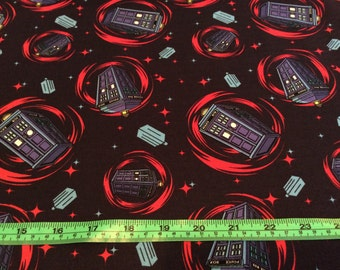 Dr. Who fabric. Cotton, quilting, phone booths, by the half yard