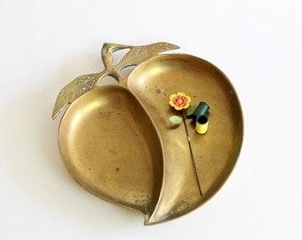 Vintage brass apple dish - brass candy dish - trinket dish - catch all dish - brass bowl - Brass organizer - vintage home decor