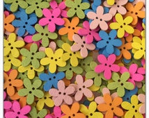 """30 or 60 Daisy buttons, assorted wood daisy buttons, flower buttons, pink yellow green blue orange, scrapbooking, sewing, crafts 15mm 9/16"""""""