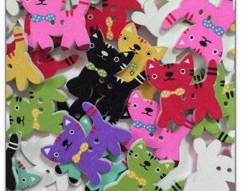 """10 or 20 Kitten buttons, random mix wood buttons, novelty buttons, scrapbooking, sewing crafts, 24 mm 1"""" kitten button cat buttons colors"""