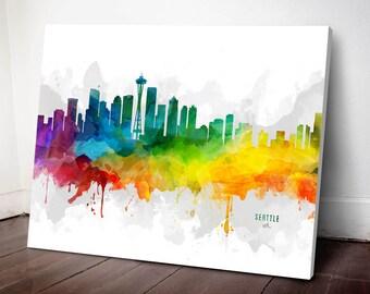 Seattle Skyline Canvas,  Seattle Print,  Seattle Art, Seattle Gift, Seattle Cityscape, MMR-USWASE05C