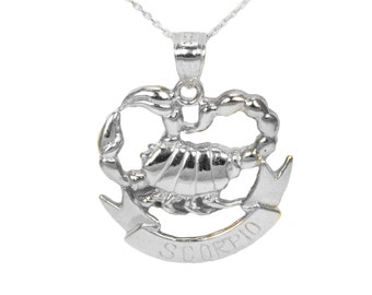 14k White Gold Scorpio Necklace