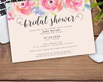 Watercolor Floral Bridal Shower Announcement/Invitation
