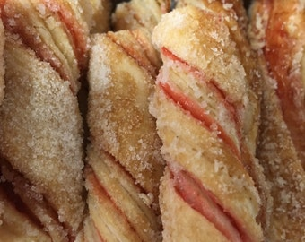 Puff Pastry Dough Cookie Twists with Raspberry filling, .75 lbs about 33 pieces