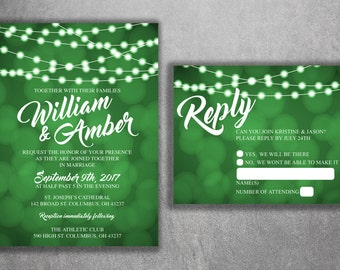 Lights Wedding Invitations Set Printed with RSVP, Wedding Invitation Suite, Cheap Wedding Invites, Sparkly, Glitter, RSVP, Cards, Summer