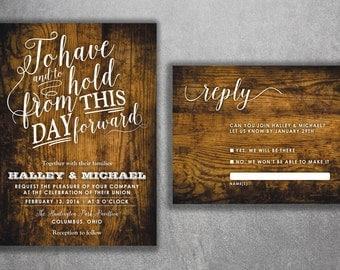 country wedding invitations set rustic wedding invitation burlap wood affordable wedding invitation
