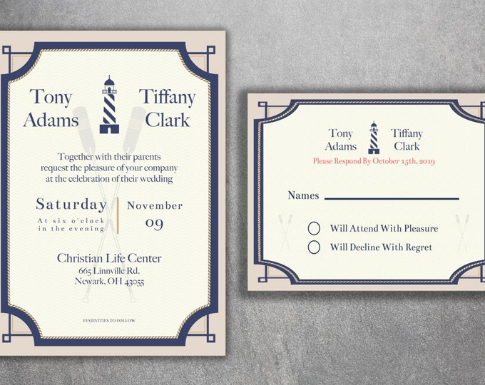 Nautical Wedding Invitations Set, Light House Wedding Invitations, Navy Wedding Invitation, Boat, Ocean, Sailboat, Oars, Rope, Anchor