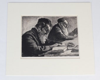 "Joseph Margulies Original Aquatint Etching ""Scholars"""