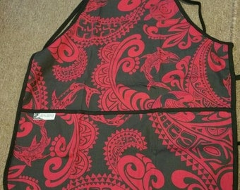Black and Red Hawaiian Print Apron