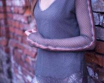 Fishnet khaki blouse