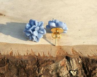Dusty blue Flower studs