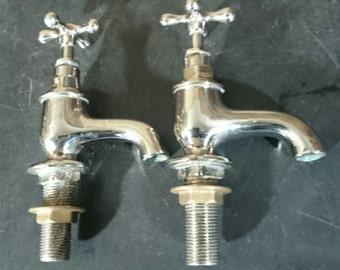 Nickel plated brass basin taps.