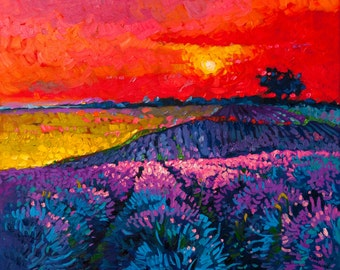 Sunset over lavender field.Instant download.JPG and TIFF files for printing an original oil painting.