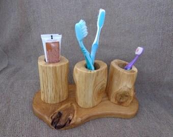 Wooden Toothbrush Holder, Rustic Toothbrush Holder, Bathroom Holder, Toothbrush Case, Bathroom Accessories, Live Edge Holder, Bathroom Decor