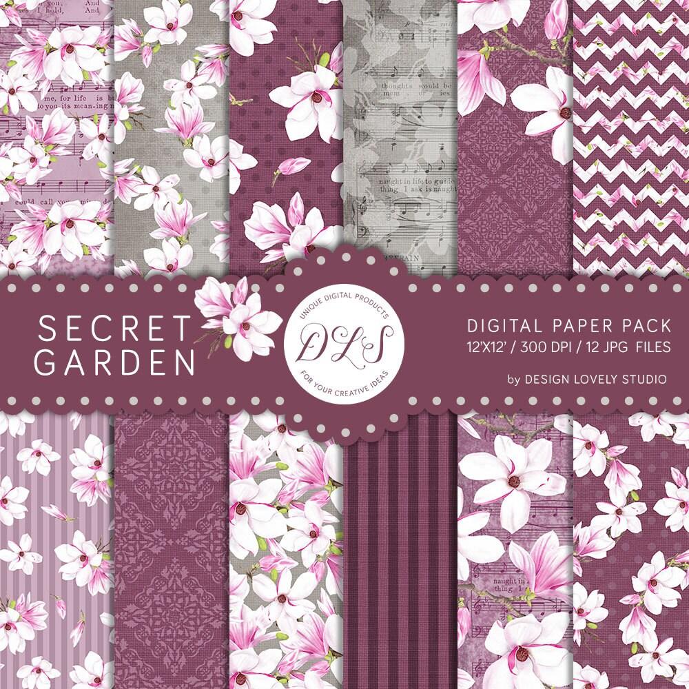 "Maroon Garden Ideas: Flower Digital Paper Pack: ""Secret Garden"" Romantic"