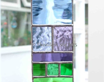 Stained Glass Rainbow Glass Art Blues Purples Greens Multi Colour Suncatcher Designed & Handmade by The Glass Sea