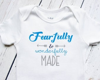 Fearfully and wonderfully made onesie, baby boy onesie, Christian onesie, Christian baby, trendy baby clothes, Christian shower gift