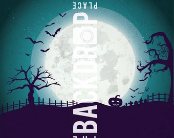 Large Photography Backdrops- Halloween Moon - 5'x5', 5'x6', 5'x7', 5'x10'