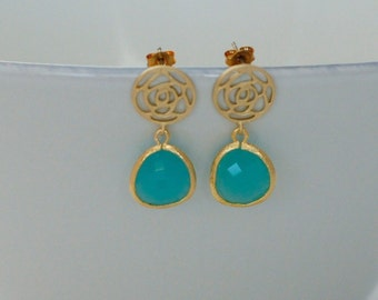 Blue Green Earring Gold Floral Post Blue Green Flower Earring Wedding Jewelry Bridesmaid Gift Birthday Gift Dainty Earrings