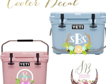 YETI Cooler Decal Skin | Personalized Floral Monogram Decal | YETI Monogram Sticker | YETI Decal
