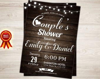 couples shower invitation rustic wedding shower invite couples bridal shower couples baby shower