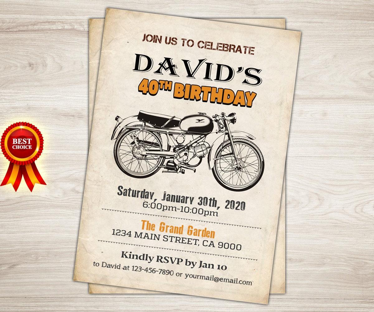 motorrad-geburtstag-einladung. café racer motorrad 40th, Einladung