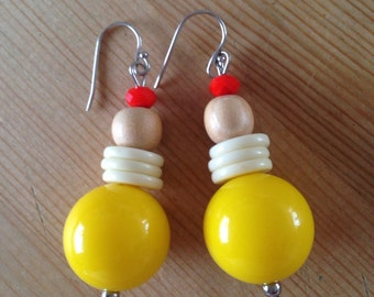 Yellow orange and white drop earrings