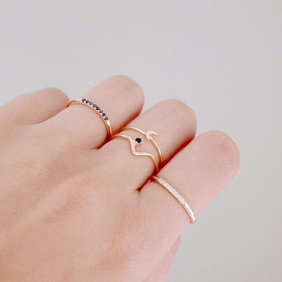 V gold ring Black stone ring Minimalist ring Stacking