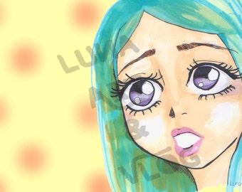 Blue hair girl - markers - digital download