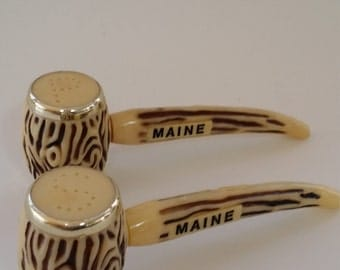 Vintage Maine Salt and Pepper Shakers Retro