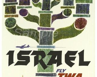 Vintage Israel TWA Travel Poster Print
