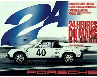 Vintage Porsche Le Mans 1970 Racing Poster Print