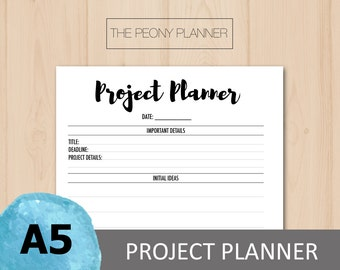 Printable | Project Planner Insert For Work or School | A5 Size | Daily & Weekly | Filofax, Kikki K Planners