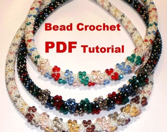 Bead crochet rope pattern for beading necklace and bracelet« Bows » Instant Download