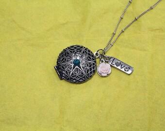 Love Locket & Rose Charm Necklace