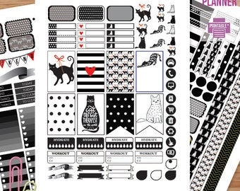Black & White CAT Planner Stickers Printable, HAPPY PLANNER, Monthly/Weekly Kit, Printable Sampler, Happy planner kit, Instant download