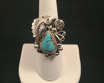 SALE Native American Navajo Turquoise & Sterling Silver Ring Size 7.5