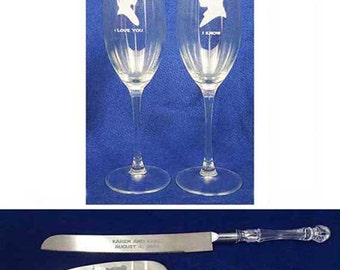 Star Wars Wedding Glasses Cake Server & Knife Set Personalized Engraved