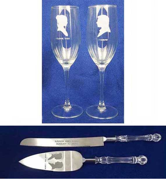 star wars wedding cake knife wars wedding glasses cake server amp knife set personalized 20507